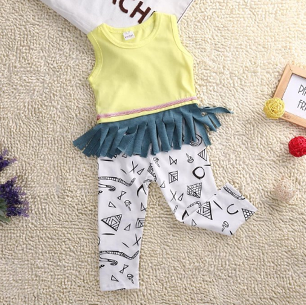 Toddler Girls yellow tasseled Tank Top T-Shirt and white  black graphic Pants 2pcs set
