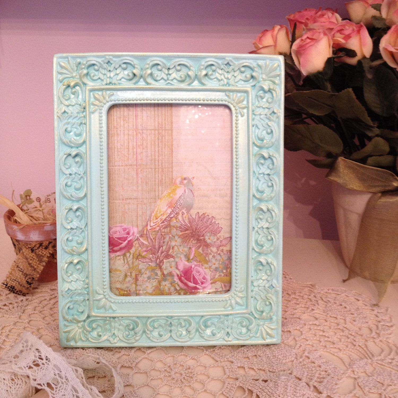 aqua and gold ornate frame mint and gold shabby frame fancy aqua and gold - Mint Picture Frames