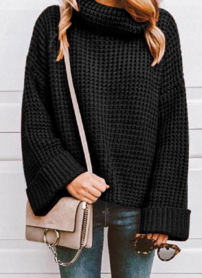 baca6f24d Comfy Black Turtleneck Waffle Knit Sweater in 2019