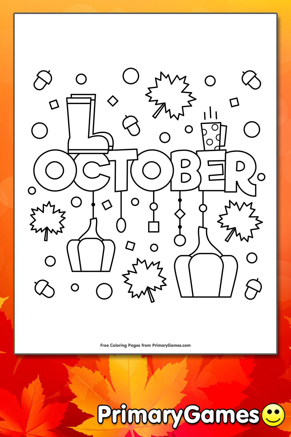 October Coloring Page Free Printable Ebook In 2020 Coloring Pages Fall Coloring Pages Free Coloring Pages