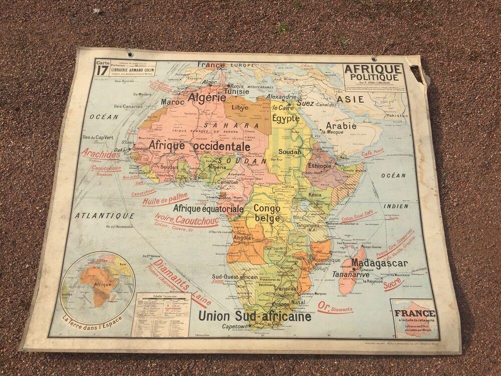 Carte Affiche Scolaire Vidal Lablache : Afrique Politique Et Relief Vintage  1960 | Old maps, Vintage world maps, Map