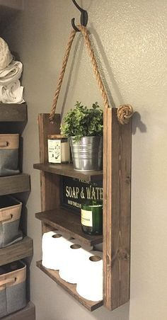 Rustic Ladder Shelf, Wood and Rope Shelf, Farmhous
