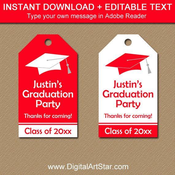 Graduation Tags Instant Download High School Graduation Hang Tag - hang tag template