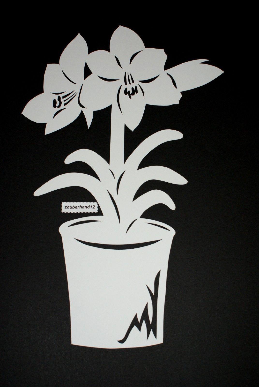 fensterbild amaryllis im topf xltonkartonfiligranes
