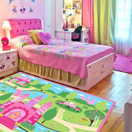 FADFAY Home Textile,Cartoon Castle Girls Bedroom Rugs,Delicate Little  Flowers Bedroom Floor Rugs