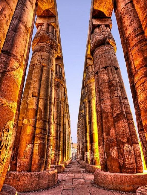 Columns at the Court of Amenhotep III , Luxor Temple.