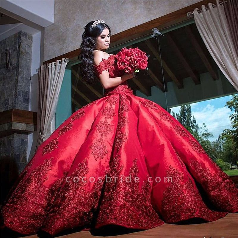 Fascinating Appliques Satin Ball Gown Quinceanera Dress -   15 dress Quinceanera burgundy ideas