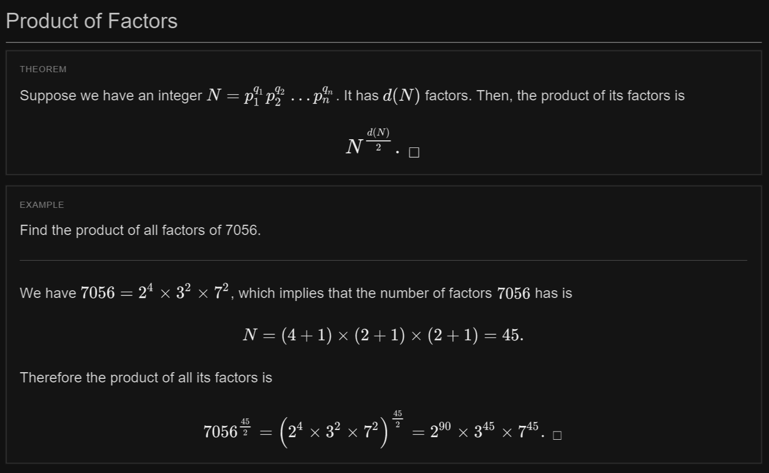 Product Of Factors