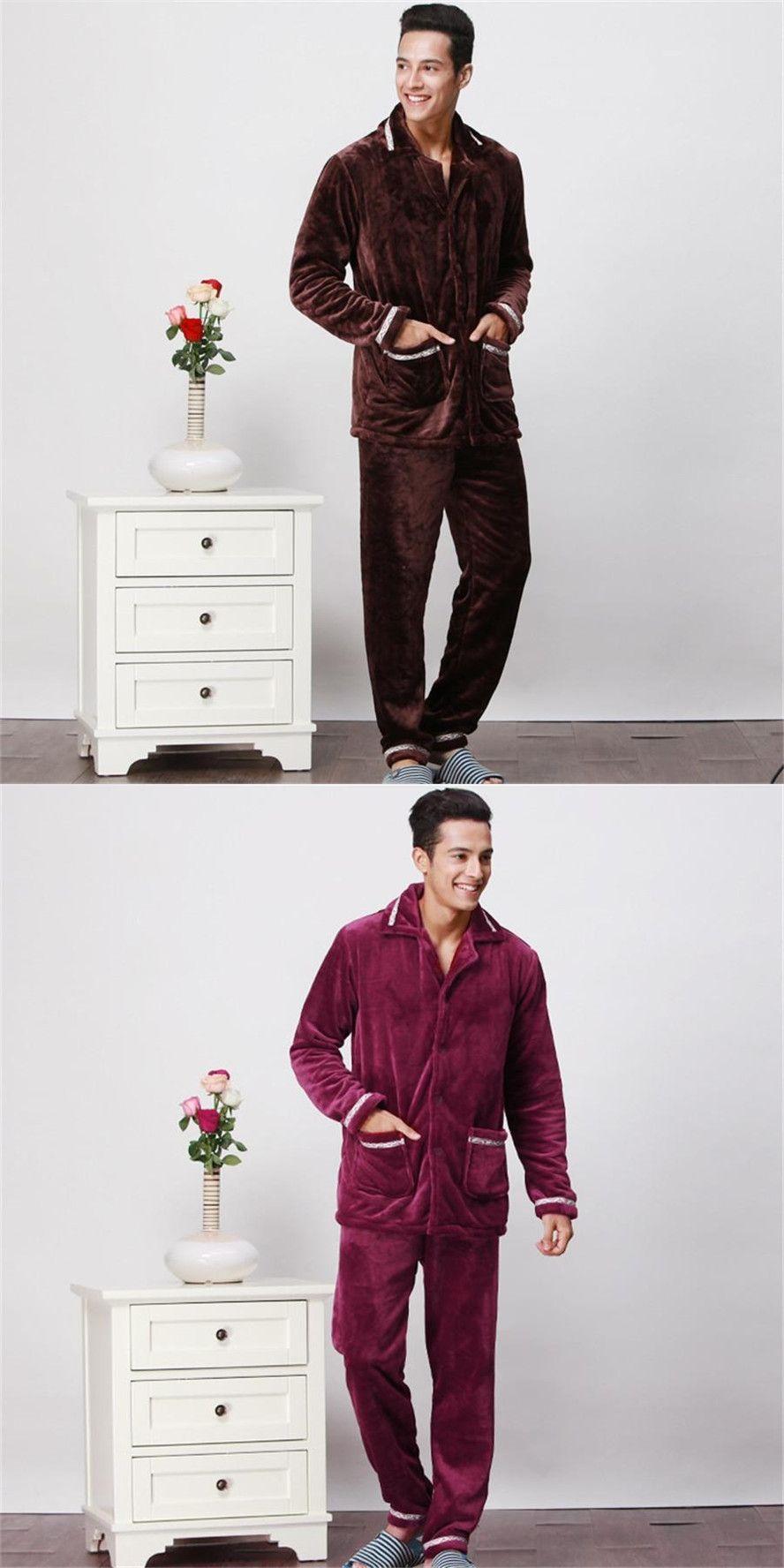 dbf7e7962494 ROSICIL Winter Men s Pajamas Thickening Warm Mens Pyjama Sets Lounge Wear  Comfortable Coral Fleece Male Sleepwear