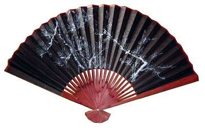 Asian Art Decor Gifts 42 Anese Black Hand Painted Decorative Wall Fan White Tree 5 36 00