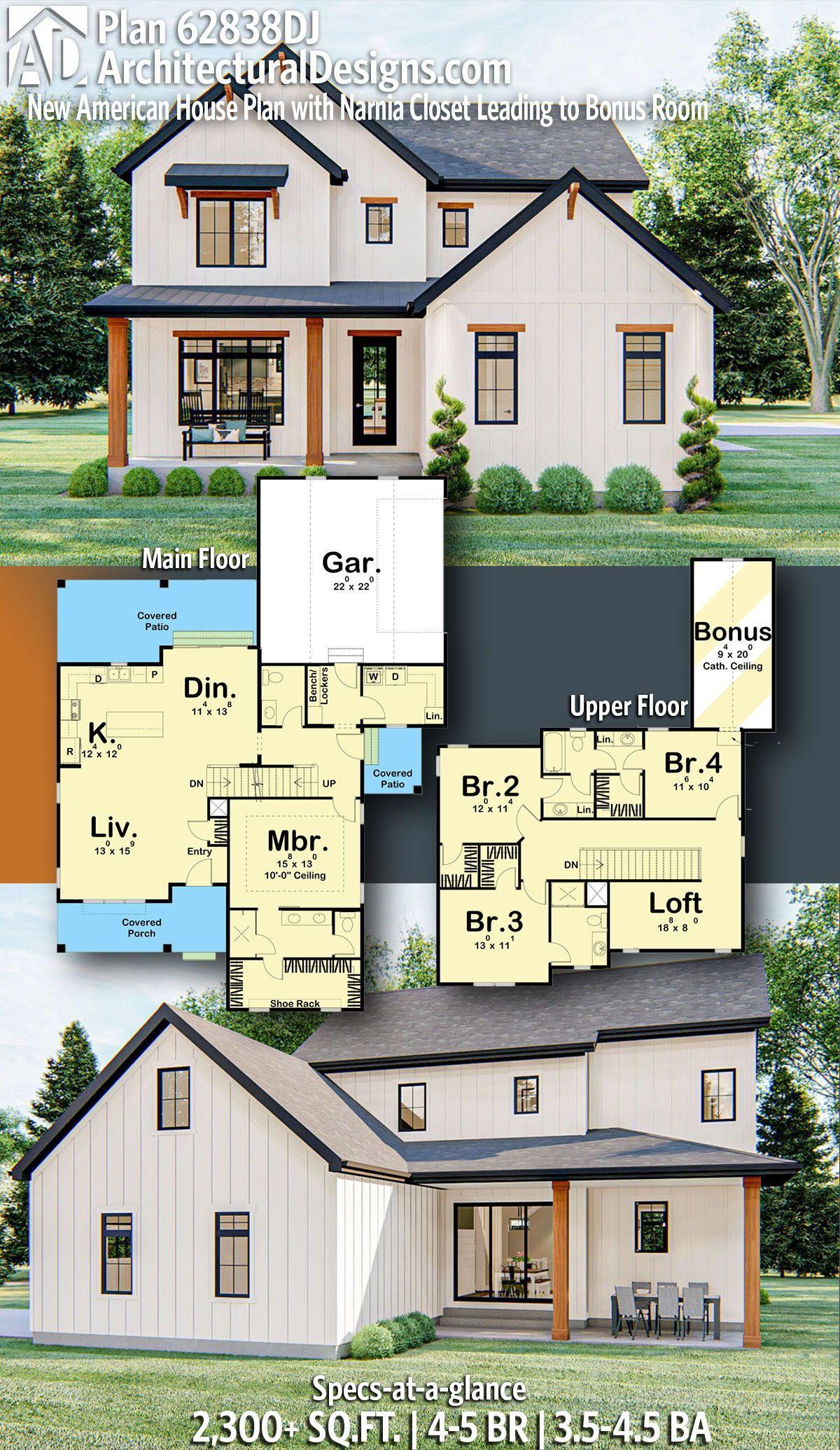 Plan 62838dj New American House Plan With Narnia Closet Leading To Bonus Room In 2020 Modern Farmhouse Plans Craftsman House Plans Farmhouse Plans