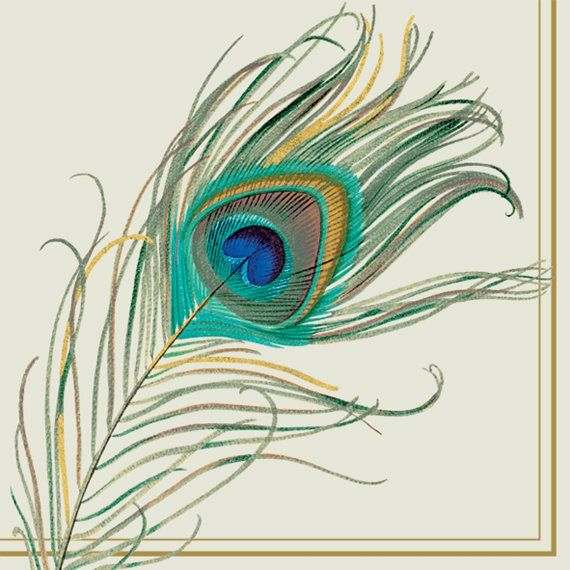 Peacock Feather PAPER LUNCH NAPKINS  Lunch by PaperNapkinsShop