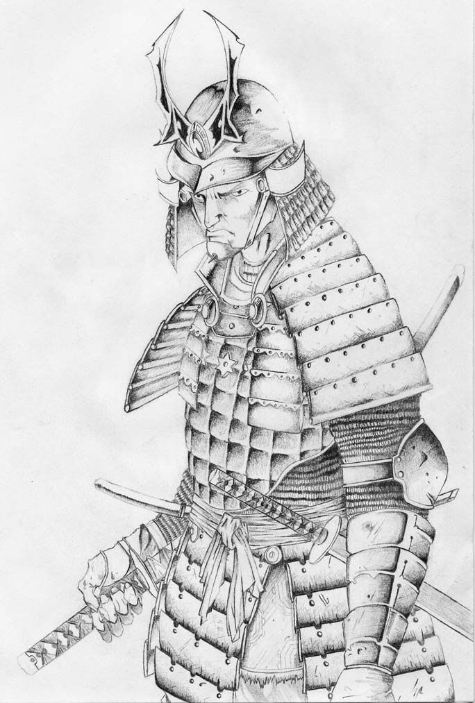 how to draw a japanese samurai warrior step by step
