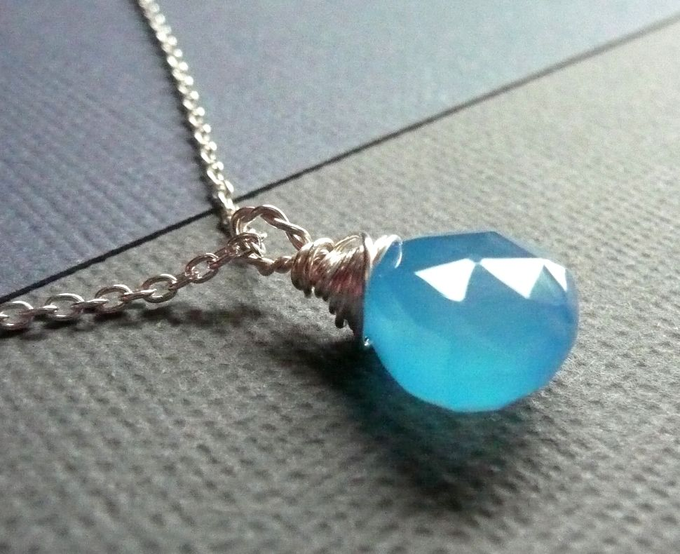Sky Blue Chalcedony and Sterling Silver Necklace