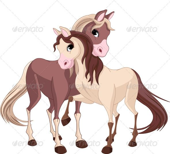 Two Horses Horse Cartoon Horse Illustration Animal Clipart