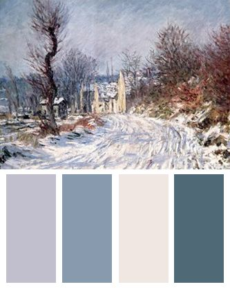 Winter Color Palette (The Road to Giverny, Winter, art print by Claude Monet