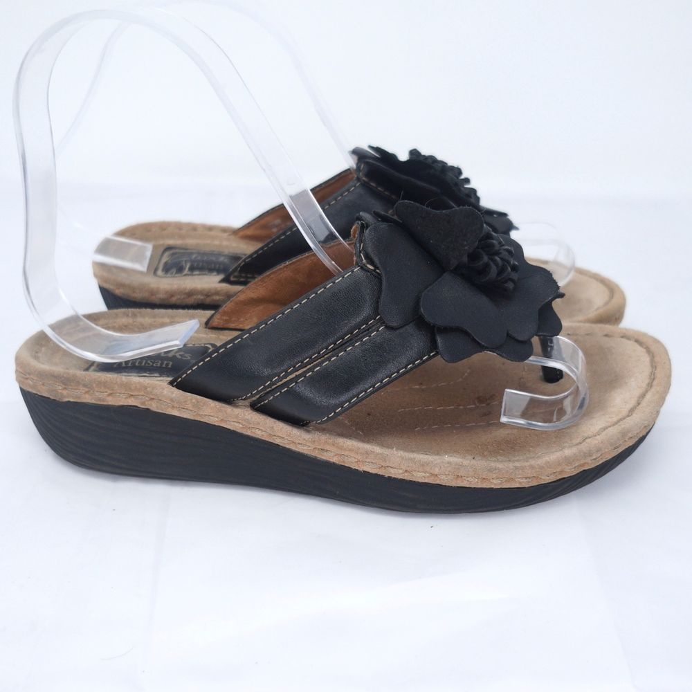 ead0eb6eff6b Clarks Artisan Wedge Flip Flops Sandals Black Leather Women Size US 6   Clarks  FlipFlops