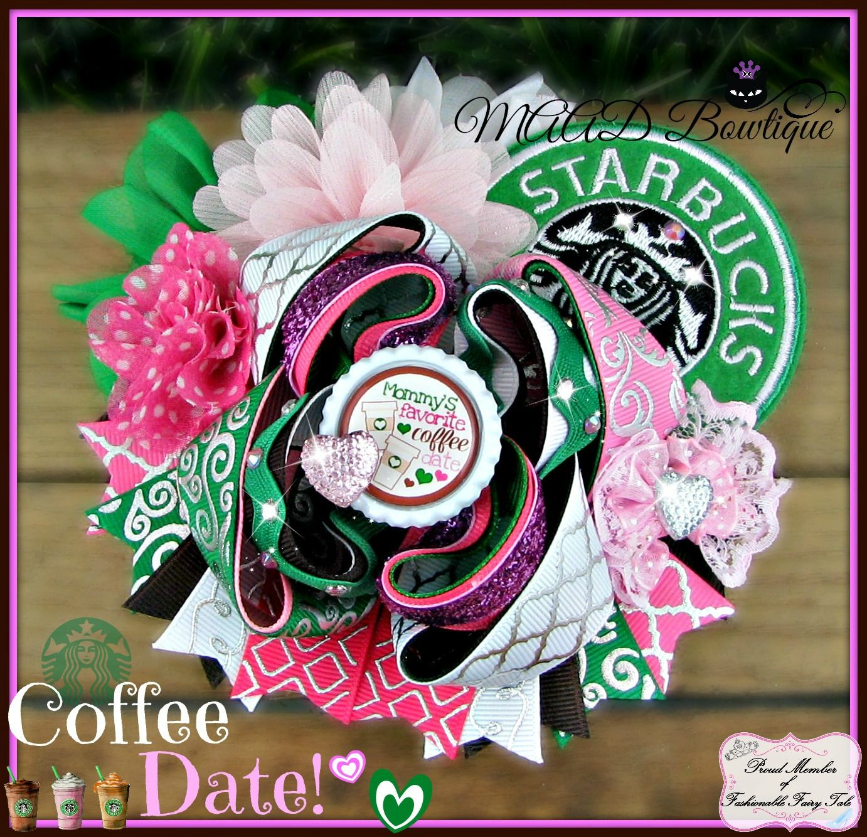 Starbucks hair bow Clip Handmade
