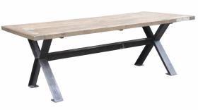 meuble grande table en x - vieux bois / métal - mobilier tables