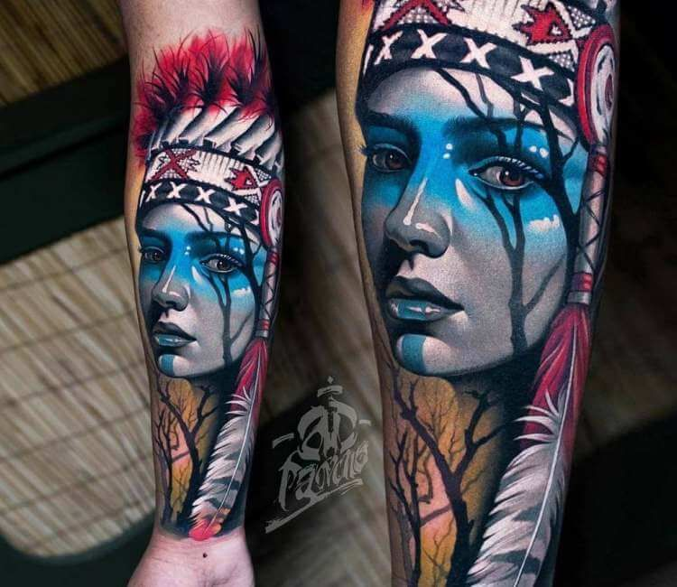 Native American Girl Tattoo By A D Pancho Post 26601 Native American Girl Tattoo Indian Girl Tattoos Native American Tattoos