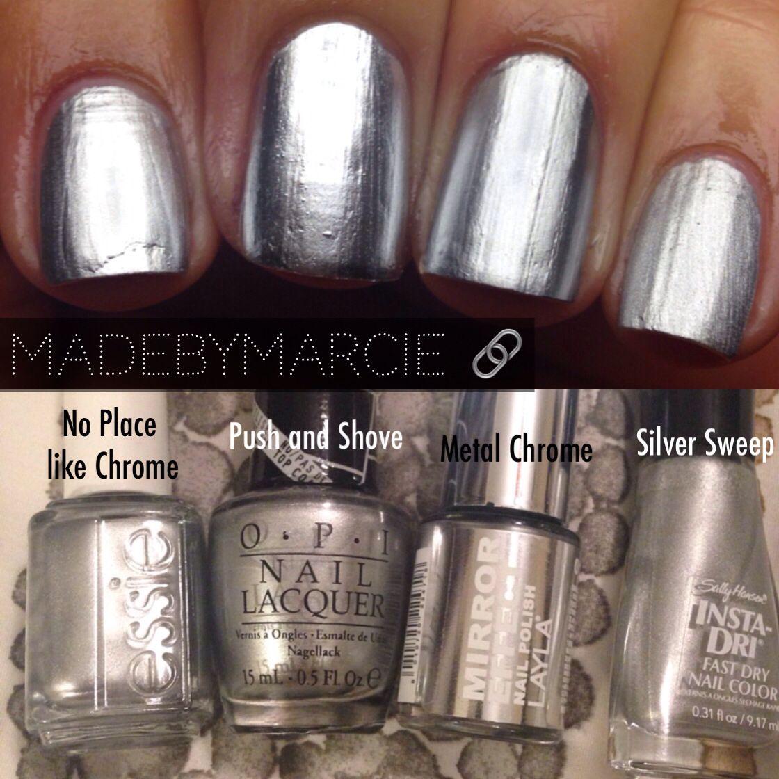 OPI Push And Shove Mirror Metallic Comparison.