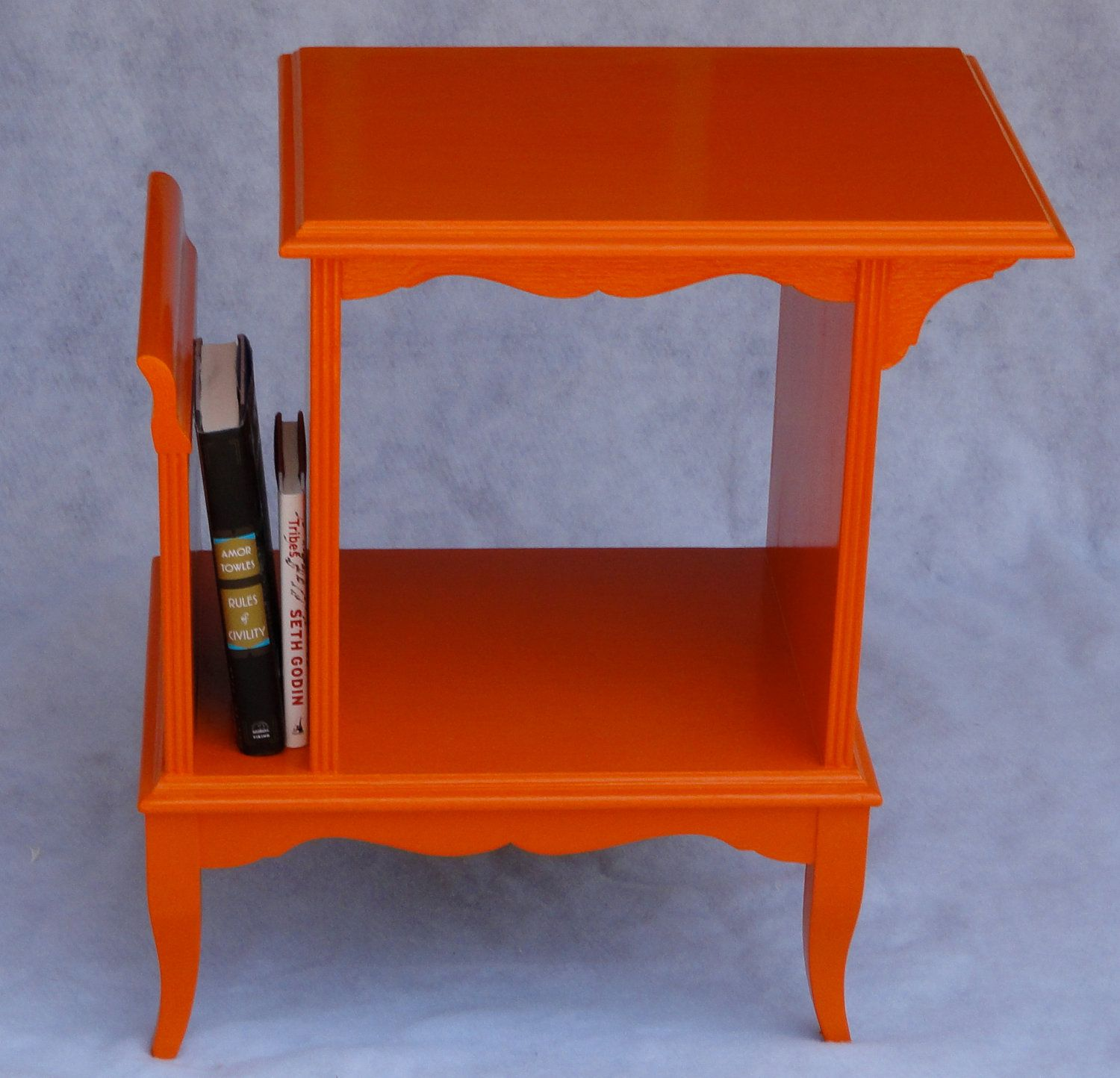 Painting Side Table Ideas Upcycled Orange Painted Magazine Rack Side Table