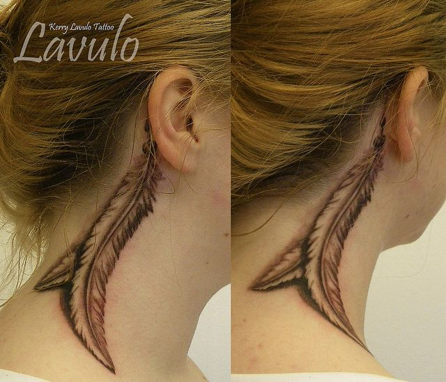 Pin By Kerry Eccles On Tattoos: Tattoo-neck-ear-feather-black-grey-shading-kerry-lavulo