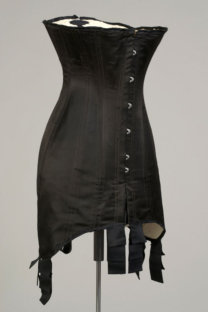 Corset. American, ca. 1910. Black silk with steel boning. Gift of Warnaco, Inc., KSUM 1983.1.117b