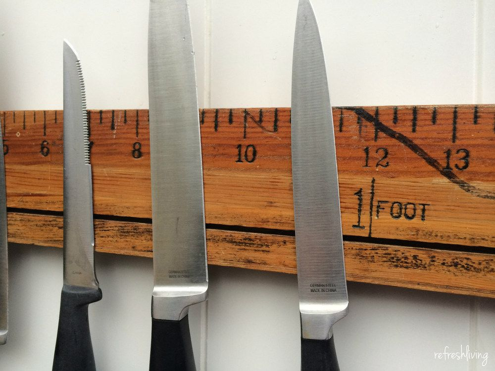 How To Make A Diy Magnetic Knife Holder With A Vintage Ruler Diy Magnetic Knife Holder Kitchen Knife Storage Magnetic Knife Rack