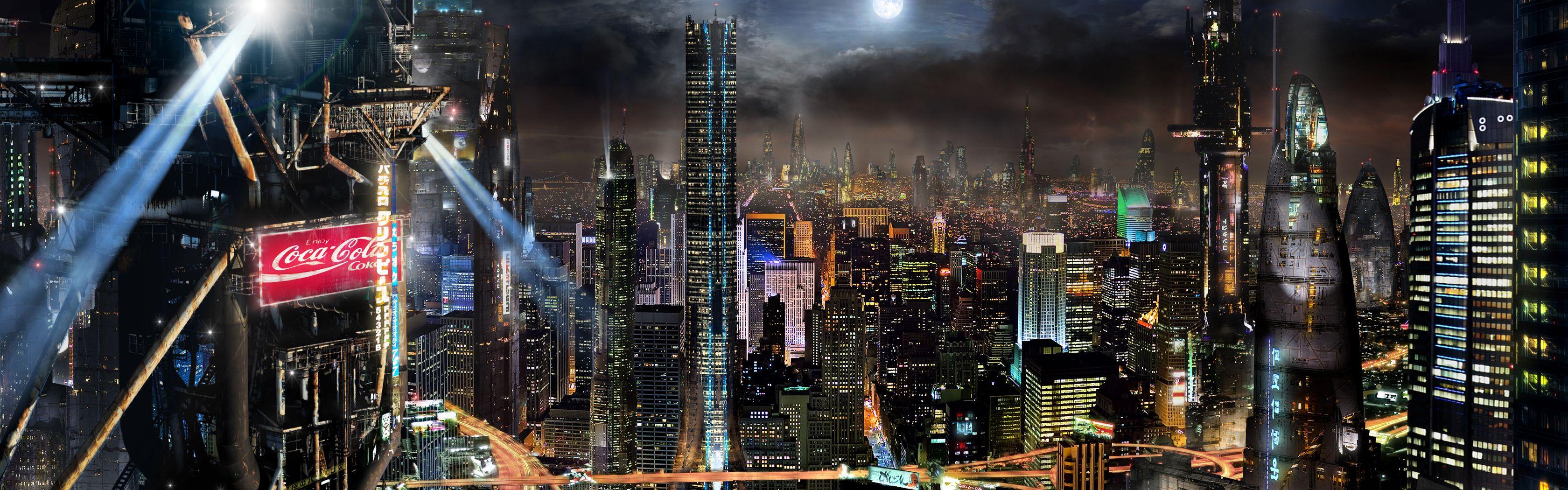 Actmm Matte 5 Dual Desktop By Rich35211 On Deviantart Full Hd Wallpaper Futuristic City Fantasy Landscape