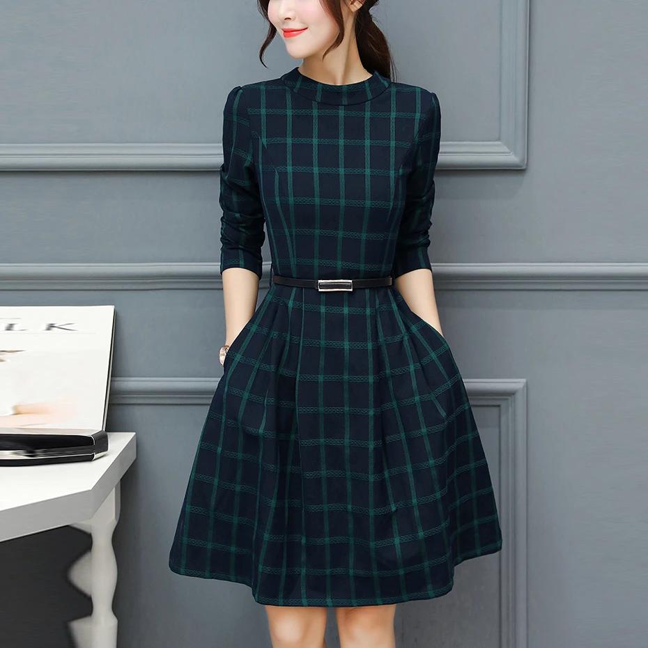 Fashion Check Slim round neck long-sleeved dress