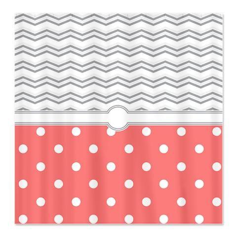 Good Makanahele.com | Polka Dot Salmon Pink Grey White Zigzag Shower Curtain  $49.99