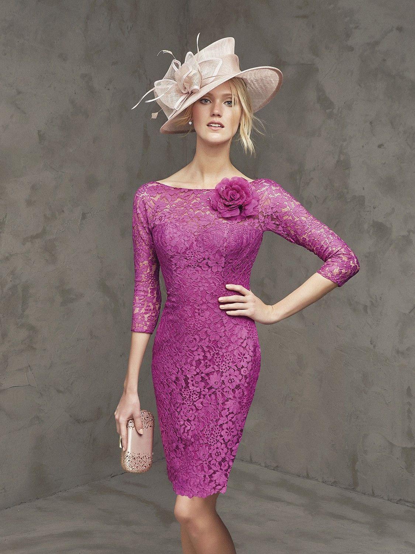 Vestido de encaje morado a media pierna | moda | Pinterest ...