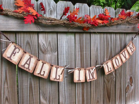 wedding garland fall in love banner burlap banner barn wedding