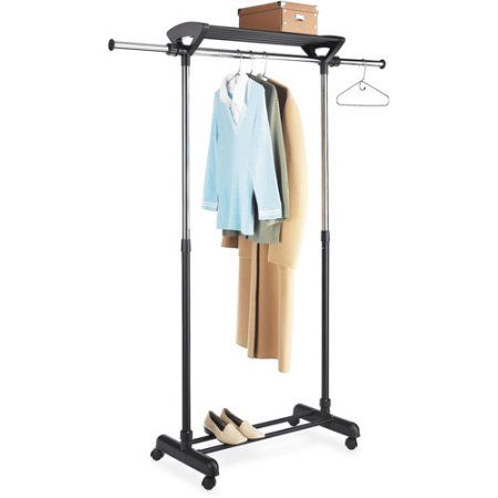 Walmart Clothes Hanger Rack Fair Mainstays Adjustable Double Garment Rack Black And Chrome  Garment Design Inspiration