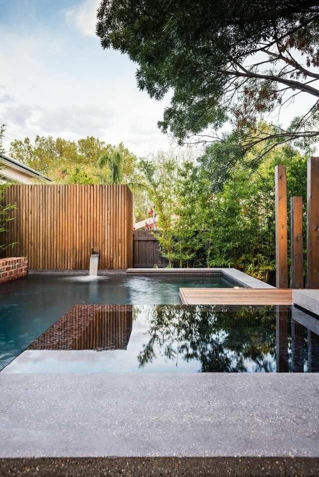 v randa ouverte en bois avec piscine moderne jardins et exterieurs pinterest piscines. Black Bedroom Furniture Sets. Home Design Ideas