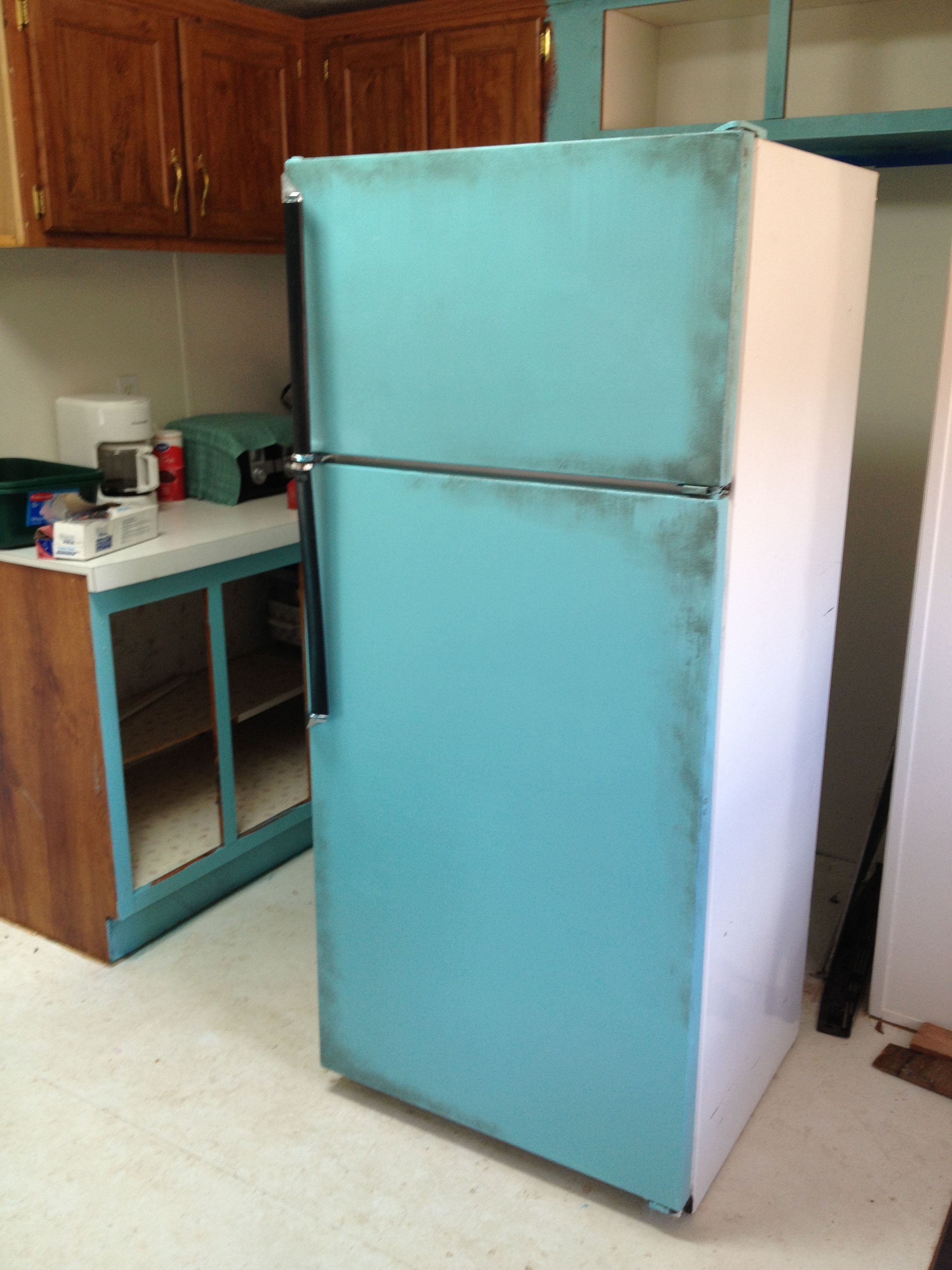 Paint your old fridge lol love it !!! Now it all matches   Painting ...