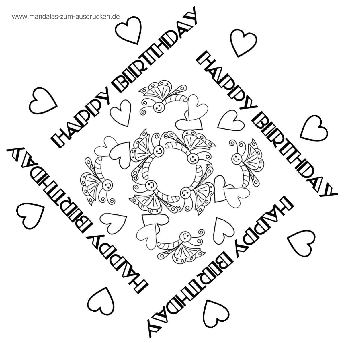 free Mandala Vorlage Happy Birthday zum Download | Happy Birthsday ...