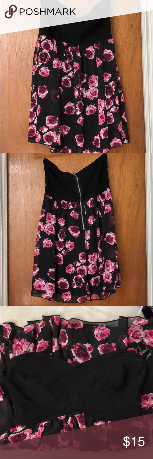 Black And Pink Floral Strapless Dress Worn Once On Vacation Short Strapless Dress Black On Top With Pi Strapless Floral Dress Clothes Design Strapless Dress [ 1740 x 580 Pixel ]