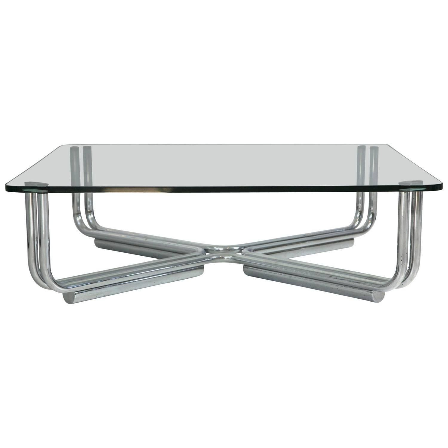 Tubular Chrome And Glass Coffee Table By Gianfranco Frattini For Cassina [ 1500 x 1500 Pixel ]