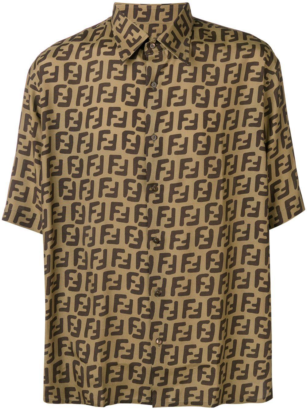 Allover Printed Bowling Shirt In F13iz Fendi, Shirts