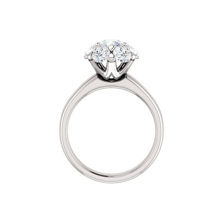 Jewels By Lux 14k White Gold Wedding Ring Band for 4.5mm Solitaire Mounting