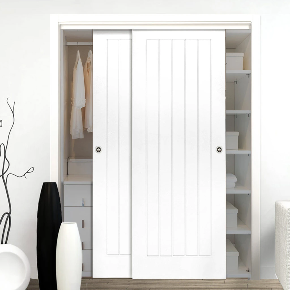 Two Sliding Wardrobe Doors Frame Kit Ely White Primed Door Sliding Wardrobe Doors Wardrobe Door Designs Sliding Wardrobe