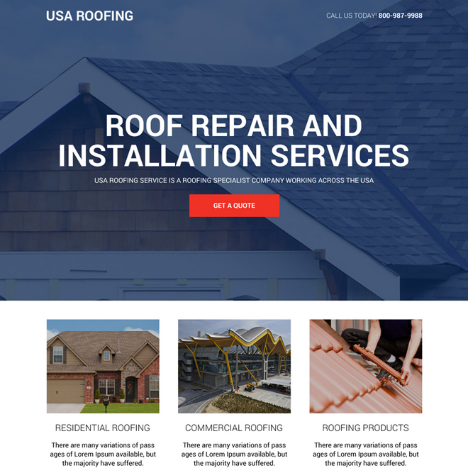 Roofing Repair And Installation Service Landing Page Design Roofing Roof Restoration Residential Roofing
