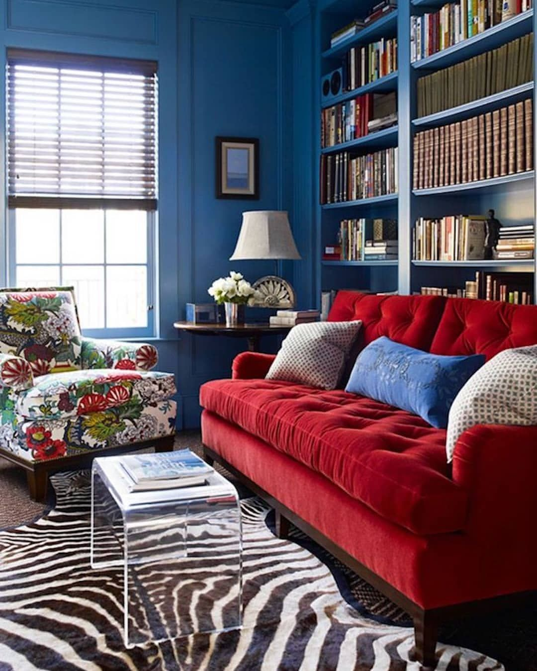 We Love How Katieridderinc Pairs Our Bold Chiangmaidragon Print With Dazzling Blue Walls Red Velvet An Red Couch Living Room Red Sofa Living Room Blue Rooms