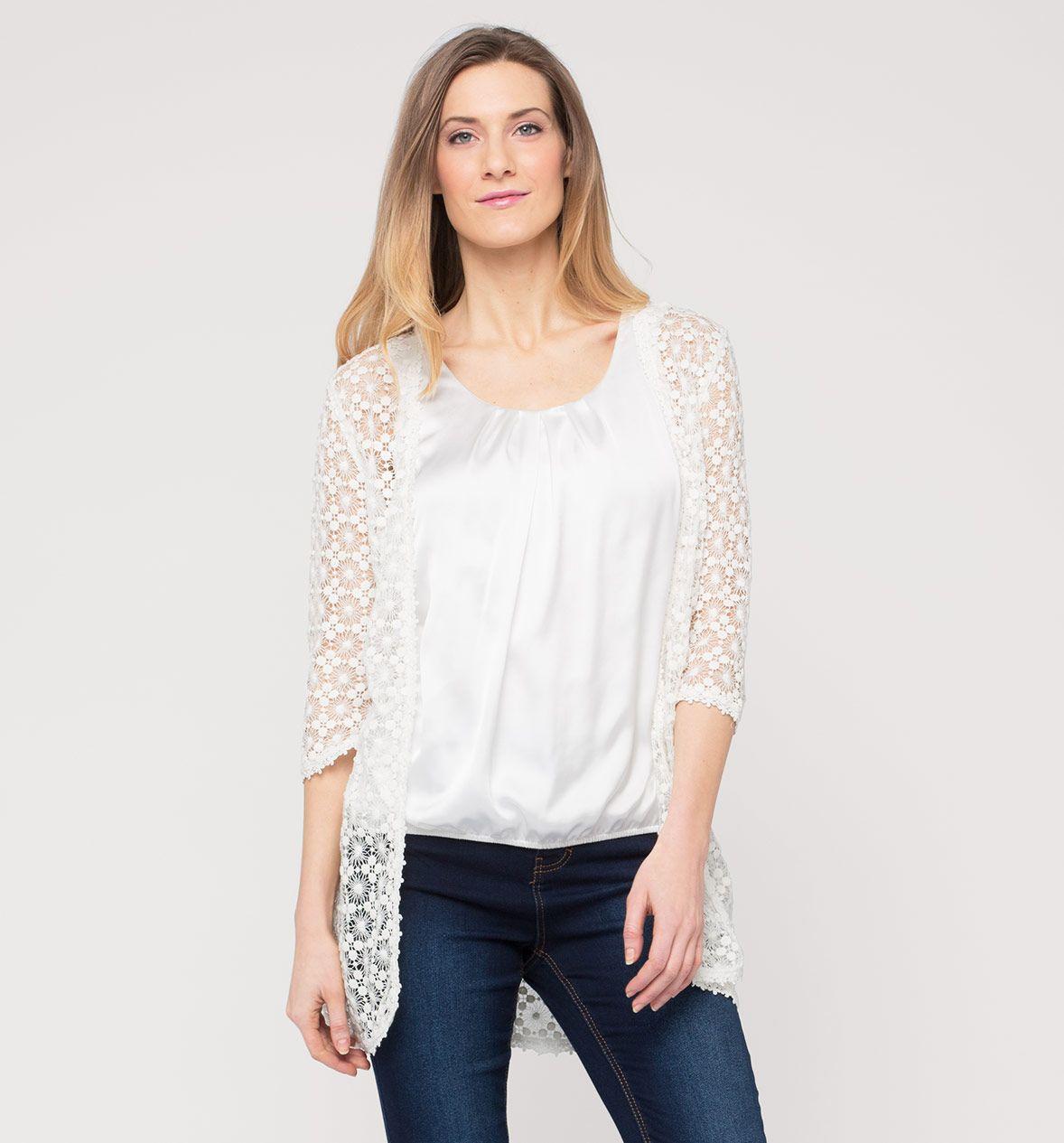 Damen Jacke Aus Spitze In Weiss Mode Gunstig Online Kaufen C A Mode Dameskleding Tops