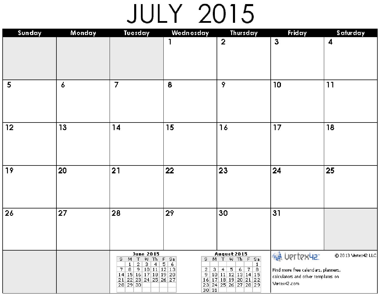 Time and Date July 2015 Calendar Printable | Calendar | Pinterest ...