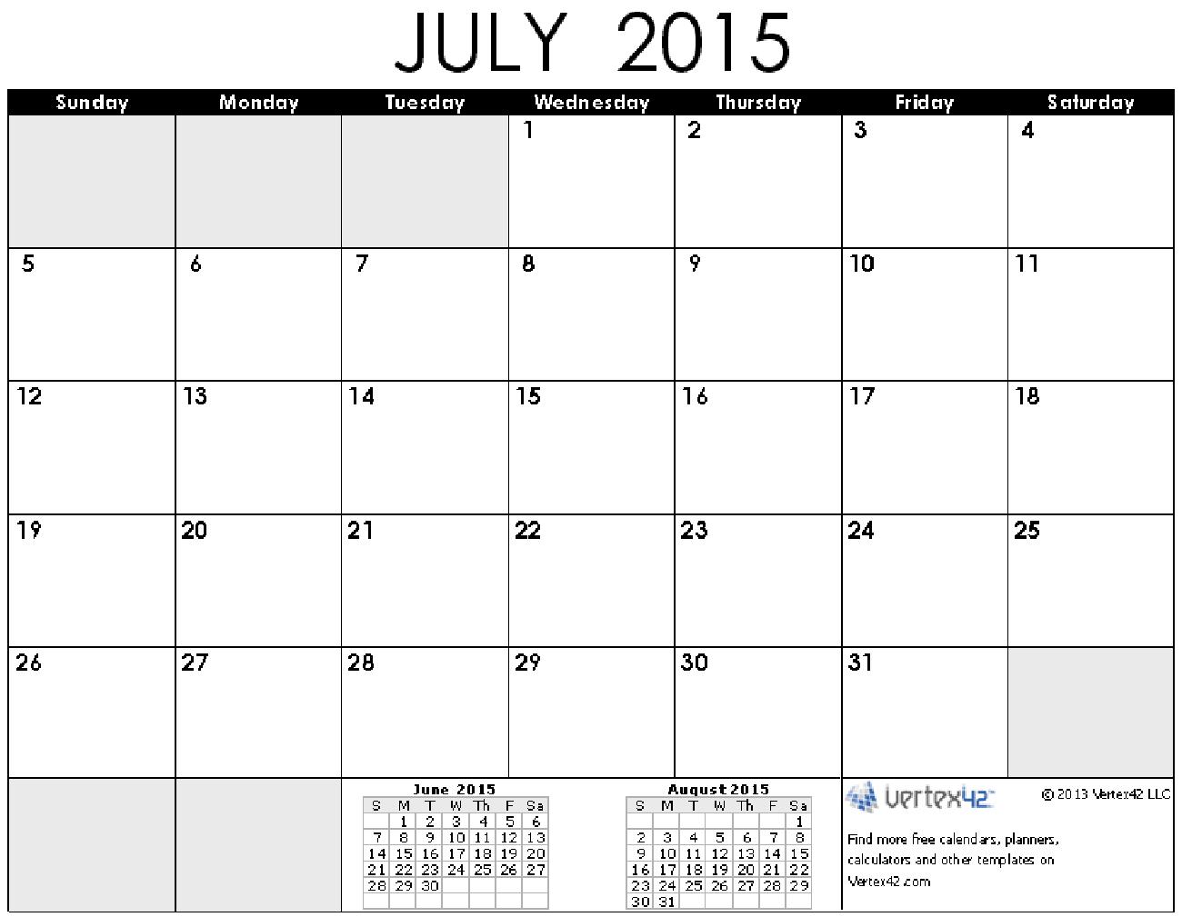 July 2015 Calendar 7a Calendar Printables Printable Calendar July Free Printable Calendar Templates