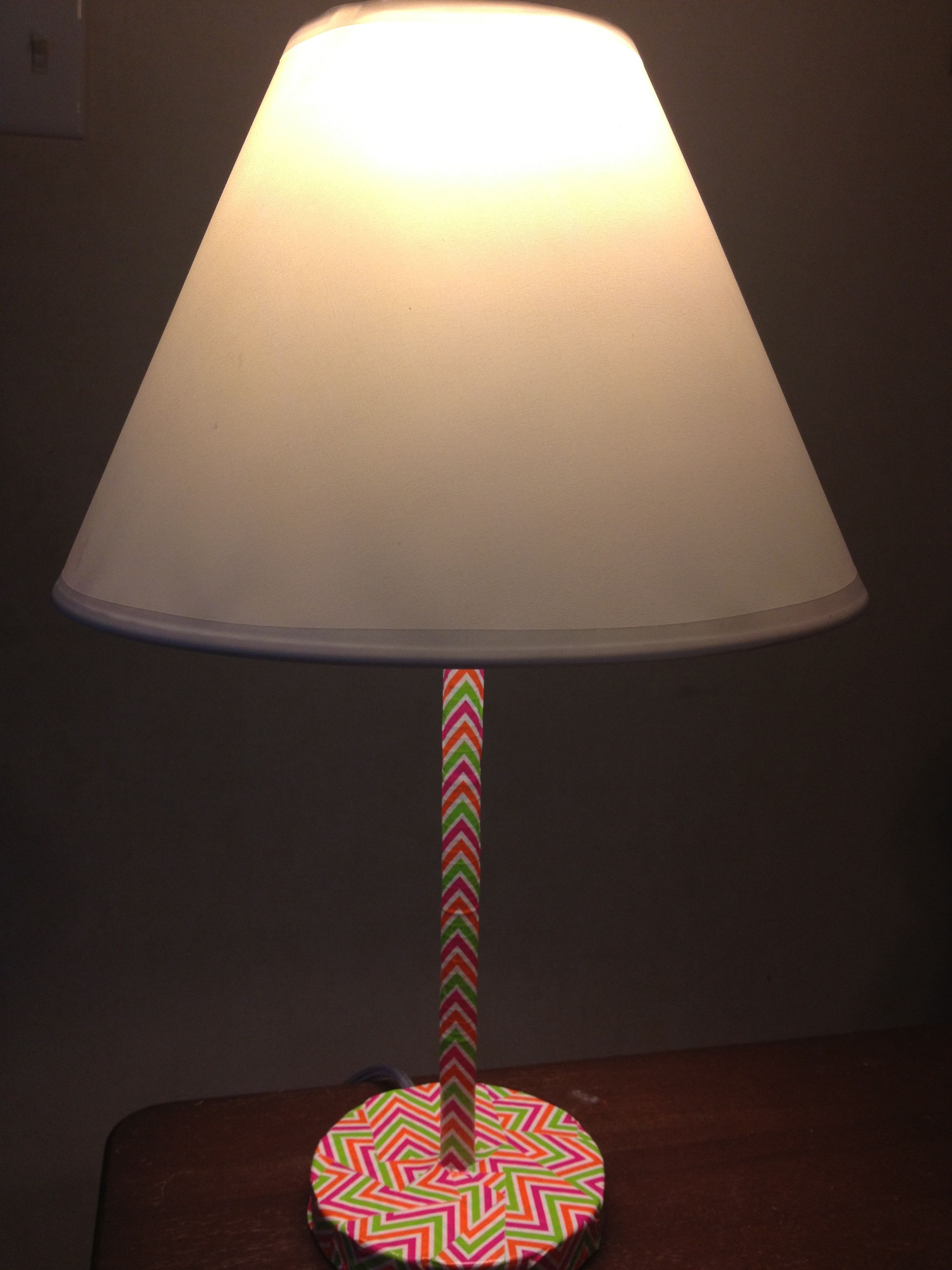 Bought A Lamp Base From Walmart And Covered It In Chevron Duct Tape.  Perfect Addition