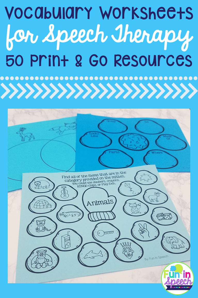 Winter Vocabulary Worksheets - Print and Go Speech Therapy ...